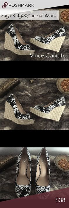 """Vince Camuto Peep Toe Espadrilles Wedge Sandals Beautiful black-and-white Vince Camuto espadrille heel wedge sandals. Linen cloth. BNWOT. Never worn.  Platform 1.25"""". Heel 4"""". I love putting together discounted bundles. Make an offer and let's negotiate! Vince Camuto Shoes Espadrilles"""