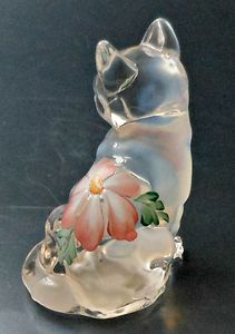 Fenton 5165 Sitting Meadow Beauty French Opalescent Cat Figurine 1996