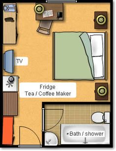A Typical Hotel Room Layout. But you forgot the chaise or small couch!
