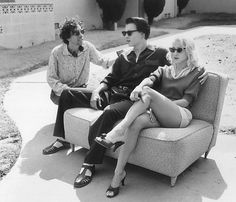 Tim Burton, Johnny Depp and Sarah Jessica Parker during the filming of Ed Wood in 1994