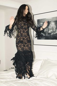 Inside The Closet of Haute Inhabit's founder, Lainy Hedaya:  Lainy Hedaya, on why she hated fashion growing up and why she can't stand lipstick. -- Long black lace gown with fringe.  | Coveteur.com