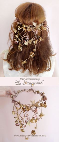 Bronze metallic hair accessories with gilded butterflies and Swarovski crystals and pearls. Luxurious statement headpieces for couture weddings, by The Honeycomb: http://www.thehoneycomb.etsy.com