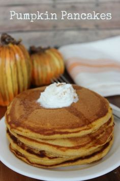 These pumpkin pancakes have so much flavor that they don't need to be topped with butter and syrup (although I like to put a dollop of homemade whipped cream on them), but my kids still like the added sweetness of syrup.