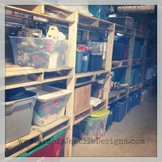 We finally organized the basement!  I love being able to find things now.  :) Simply Janelle Designs Pallet Shelves