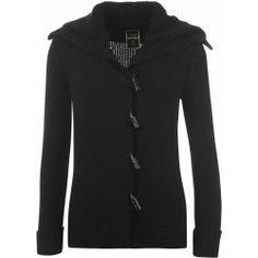 Golddigga Fleece Collar Knit Cardigan Ladies