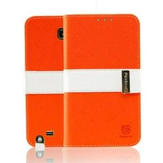 Amazon.com: Feelook Samsung Galaxy Note 2 / N7100 Leather Wallet Case Point Diary - Two Tone Leather Diary - Retail Packaging - Orange / White: Cell Phones & Accessories