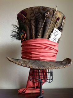 "Mad Hatter top hat - how cool would this be in cake? On a great cake plate with the wire ""skirt""."