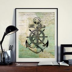 Vintage Map of North America Anchor Helm Yacht Sailing Ocean Seaside Nautical Poster Instant Download Printable A4 A3 8×10 & 11x14 HQ300dpi by ZikkiArt on Etsy