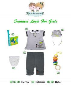 #Summer #looks for #girls. Check at www.kidsandchic.com/girl  #girlsclothing #girlsfashion #kidsfashion #trendychildren #kidsclothing #shoppingbarcelona #tuctuc #haba #calamaro