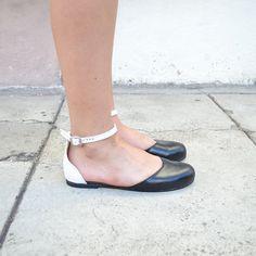 Vita color block open sandal/ballet flats (Handmade to order). via Etsy.
