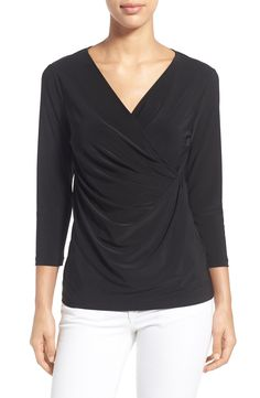 NIC ZOE Solid Faux Wrap Top available at #Nordstrom