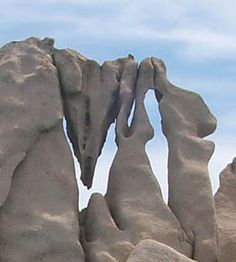 Wind carved stone monument south of Olbia on the east coast of Sardinia
