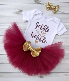 6359e1682ba1 Thanksgiving Outfit Baby Girl. Gobble Til You Wobble Bodysuit. Tutu and  Headband Set. Turkey Day Outfits Toddler. Newborn Photo Shoot.