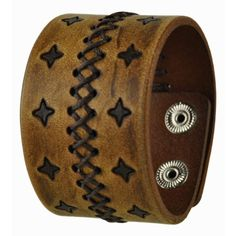 Nemesis Stars and Cross Stitched Leather Cuff Bracelet ($30) ❤ liked on Polyvore featuring jewelry, bracelets, accessories, snap bracelet, leather bracelet, cross bangle, leather jewelry and leather cross bracelet