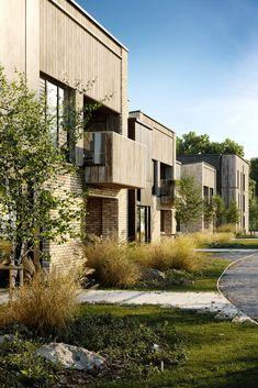 Clock House Gardens on Behance Social Housing Architecture, Architecture Résidentielle, Architecture Visualization, Urban Landscape, Landscape Design, Piscina Interior, Casa Patio, Residential Complex, Interior Exterior