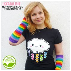 Good mood printed on a shirt. This tiny rainbow cloud wants to roam the world with you. It is raining colorful rainbow hearts. You will get a lot of attention with wearing this shirt for sure....