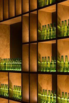 Bar Shelves, Display Shelves, Shelving, Bottle Display, Wine Display, Restaurant Design, Restaurant Bar, Back Bar Design, Liquor Bottle Lights