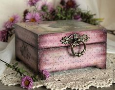 50 ideas decoupage boxes in various Painted Boxes, Wooden Boxes, Jewellery Boxes, Jewelry Box, Altered Cigar Boxes, Pink Grey, Purple, Decoupage Box, Decoupage Vintage