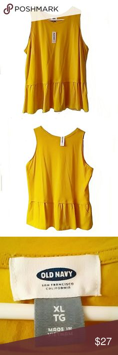 OLD NAVY FLIRTY FLARE TOP Bright yellow sleeveless flirty flare top by Old Navy. Size XL NEW WITH TAG.  ASK ALL QUESTIONS B4YIU BUY!! Old Navy Tops