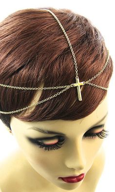 'PETRA' GOLD LAYERED CROSS HEAD CHAIN Petra, Bobby Pins, Layers, Hair Accessories, Band, Chain, Beauty, Collection, Fashion