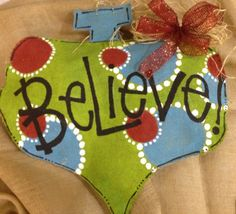 Christmas ornament burlap door hanger by AdoorableBurlaps on Etsy