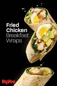Swap the frozen breakfast burritos for these tasty fried chicken wraps packed with lean protein, greens, and healthy fats! Frozen Breakfast, Chicken Breakfast, Breakfast Wraps, Homemade Breakfast, Breakfast Burritos, Breakfast Recipes, Avocado Baby, Fried Chicken Breast, Chicken Wraps