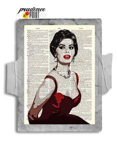 Stunning Sofia Loren Lady In Red Original Print by PrudencePrint, $8.00