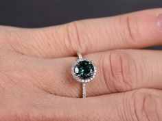 7mm Round Cut Blue Tourmaline Engagement Ring by kilarjewelry