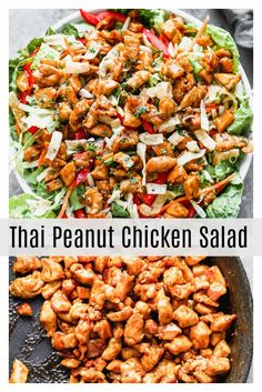Thai Peanut Chicken Salad is a delicious healthy salad for lunch or dinner. Full of protein and vegetables for a complete meal. Thai Peanut Chicken Salad is a delicious healthy salad for lunch or dinner. Full of protein and vegetables for a complete meal. Best Salad Recipes, Salad Recipes For Dinner, Dinner Salads, Healthy Recipes, Salads For Lunch, Healthy Lunches, Main Dish Salads, Salads With Meat, Delicious Salad Recipes