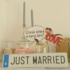 Placas de matrícula JUST MARRIED, son puro LOVE. Disponibles en nuestra shop!
