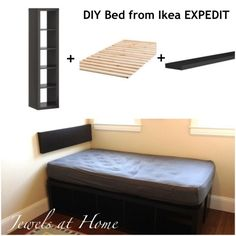 DIY twin bed using Ikea EXPEDIT.  {Jewels at Home}