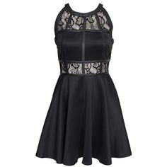 Ax Paris Lace Insert Skater Dress found on Polyvore featuring dresses, black, party dresses, womens-fashion, black cocktail dresses, black circle skirt, skater dress, black flared skirt and skater skirt