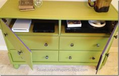 Dresser turned TV console - free and easy tutorial from https://sawdustgirl.com.