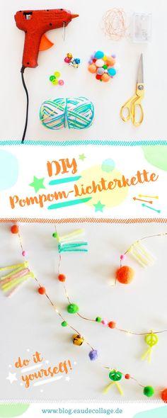 DIY POMPOM LICHTERKETTE AUS FAIRY LIGHTS // Diese süße Lichterkette könnt ihr mit der Anleitung auf meinem Blog aus Fairy Lights, Pompoms und Perlen ganz einfach selber machen! #diy #lichterkette #pompoms #fairylights