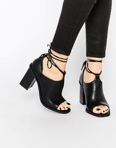 9aca2e12596f Truffle Collection Tie Block Heeled Sandals at asos.com