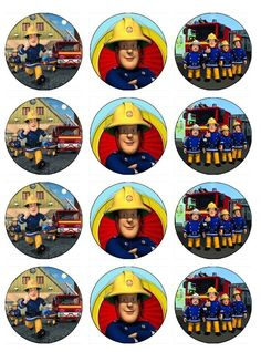 FIREMAN SAM Edible Cupcake Toppers 12 Fireman Sam images for cupcakes, cookies, cake, brownies any dessert made from wafer paper. $6.50, via Etsy.
