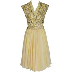 Pre-owned 1950's Pat Sandler Pale-Yellow Beaded Embroidered... ($750) ❤ liked on Polyvore featuring dresses, cocktail dresses, day dresses, yellow floral dress, cocktail party dress, beige cocktail dress, floral dress and party dresses