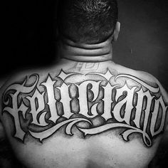 Upper Back Tattoos For Men - Male Ink Design Ideas - Another example of size. Upper Back Tattoos For Men - Male Ink Design Ideas - Another example of size. Back Tattoos For Guys Upper, Name Tattoos On Back, Last Name Tattoos, Names Tattoos For Men, Tattoo Font For Men, Tattoo Lettering Styles, Tattoo Son, Tattoo Script, Arm Tattoos For Guys