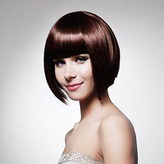 sin tapa bob corto sintético de alta calidad de color marrón oscuro peluca de pelo liso (0463-lpp592) – USD $ 27.99