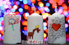 Decorated candles would make a great personalized teacher Christmas present that is fast and very economical!