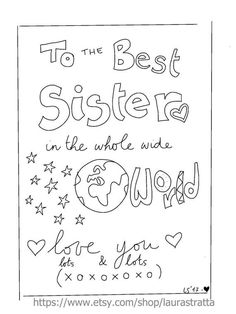 Printable best sister card - to the best sister in the world - colouring in
