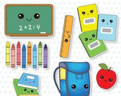 off sale kawaii back to school, classroom, lessons digital clipart, dig Kawaii Doodles, Cute Kawaii Drawings, Tumblr Stickers, Cute Stickers, School Sets, School School, School Classroom, School Clipart, Cute Fonts