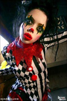 Apnea dressed as a Clown or a Harlequin.