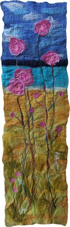 Handmade Felt and Stitch Wall Hanging Art Flowers