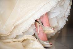 Zapatos de novia glitter dorados