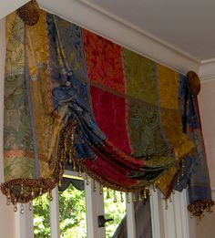 Chelsea Upholstery & Window Coverings Custom swag valance with cascades. San Rafael Ca. by appointment 453 6474