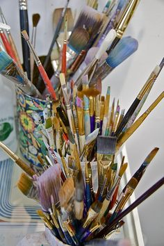 Brushes in Mati McDonough's studio.  Photo by Kelly Rae Roberts.  From the Get Your Paint On course webpage.