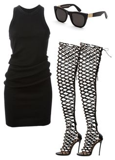 """""""Draya"""" by fashionbombshellz ❤ liked on Polyvore featuring Dsquared2, DRKSHDW and RetroSuperFuture"""