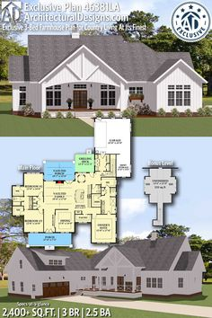 Plan Exclusive Farmhouse Plan for Country Living At Its Finest Architectural Designs Exclusive Farmhouse Plan gives you 3 bedrooms, baths and sq. Where do YOU want to build? New House Plans, Dream House Plans, House Floor Plans, My Dream Home, The Plan, How To Plan, Plan Plan, Farmhouse Plans, Country Farmhouse