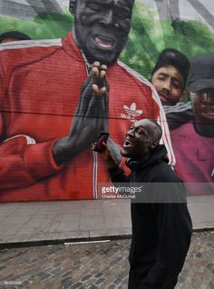 Grime artist Stormzy visits a mural depicting a scene from his video 'Shut Up' at Smithfield on March 30, 2017 in Dublin, Ireland. Stormzy performed in front of a sell out crowd on the opening night of his UK tour at the Olympia Theatre last night in Dublin. The mural in honour of his visit appeared over the weekend by local artist group Subset.